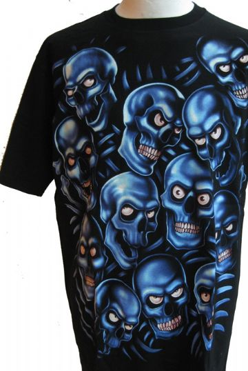 The Blue Skulls ' Glow In The Dark ' T Shirt With Large Colour Back Print